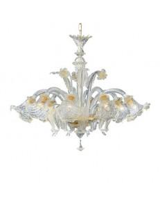 Rialto sp5 lampadario vetro trasparete e ambra ideal lux 5 luci