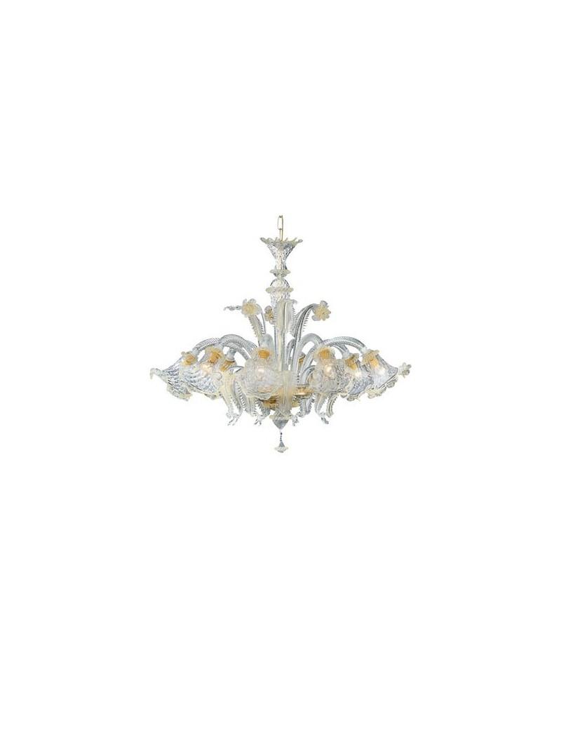 IDEAL LUX: Rialto sp5 lampadario vetro trasparente e ambra 5 luci in offerta