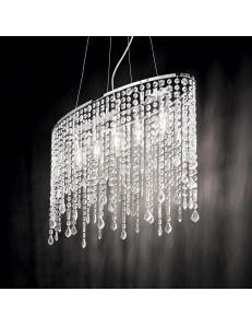 Rain sospensione 5 luci con elementi in cristallo molato ottagonali, quadrati, rettangolari e gocce finali
