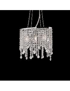 Rain sospensione 3 luci con elementi in cristallo molato ottagonali, quadrati, rettangolari e gocce finali
