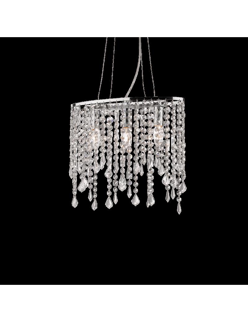 IDEAL LUX: Rain sospensione 3 luci con elementi in cristallo molato ottagonali, quadrati