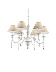 IDEAL LUX: Provence sp6 lampadario in legno tornito bracci metallo paralume tessuto in offerta