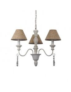 provence sp3 lampadario in legno tornito bacci metallo paralume tessuto