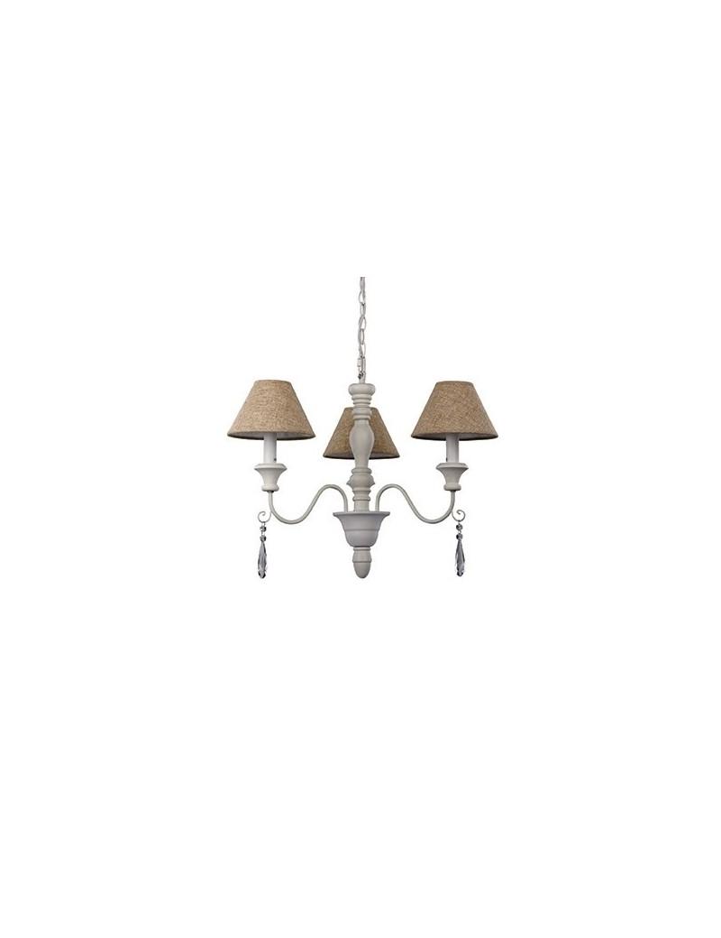 IDEAL LUX: Provence sp3 lampadario in legno tornito bracci metallo paralume tessuto in offerta
