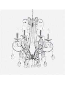 Prisma lampadario sospensione 6 luci decorata con fili di perle in vetro trasparente. Bobeches in cristallo trasparente molato