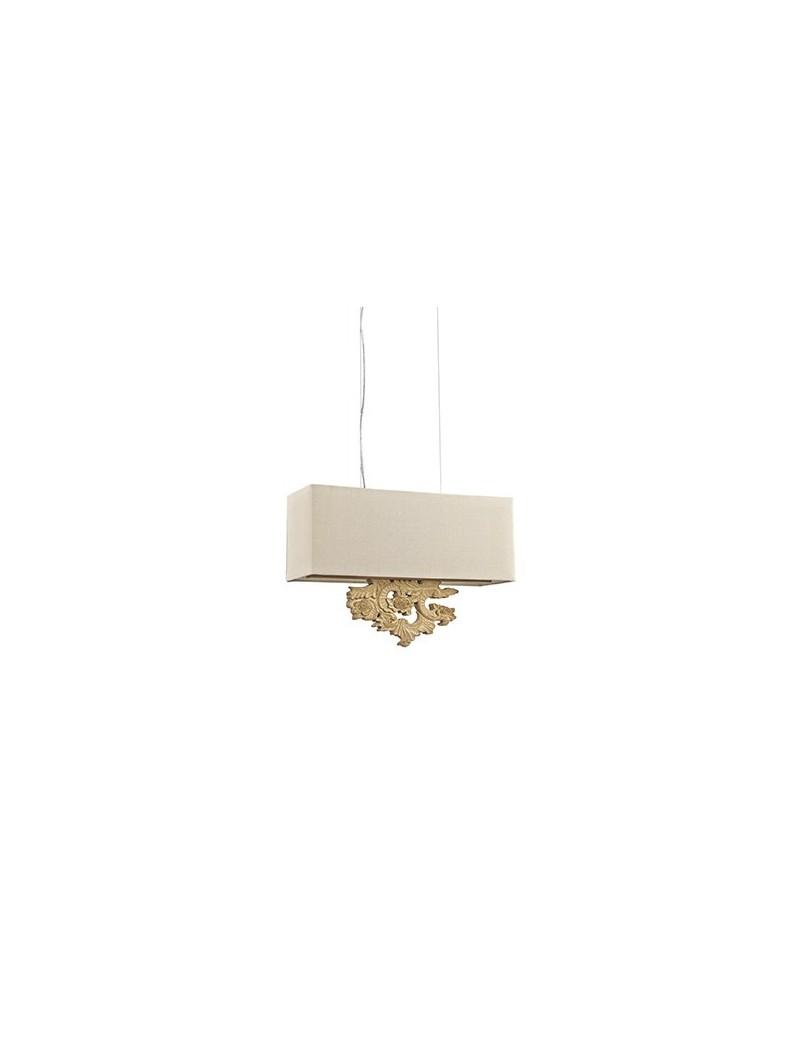 peter sp3 lampadario effetto legno paralume in tessuto canvas