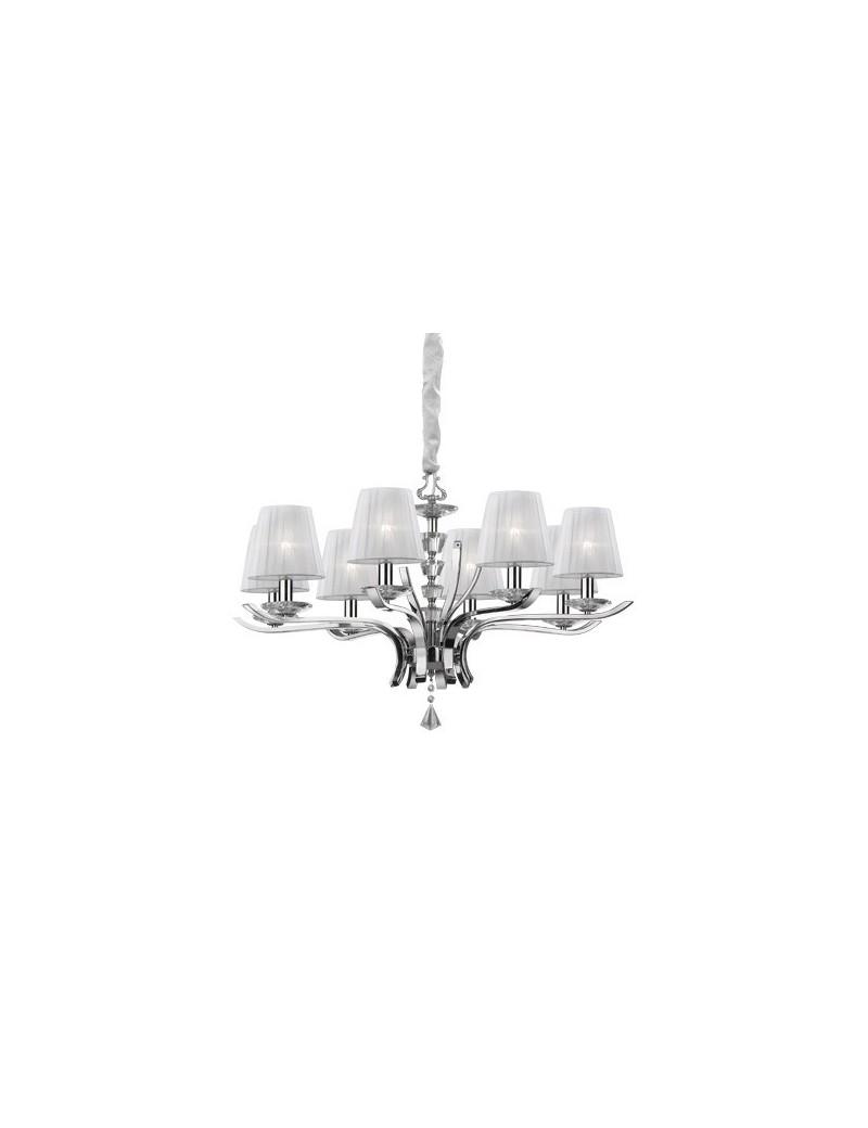 IDEAL LUX: Pegaso sp8 lampadario bobeches e pendagli in cristallo molato paralumi organza in offerta