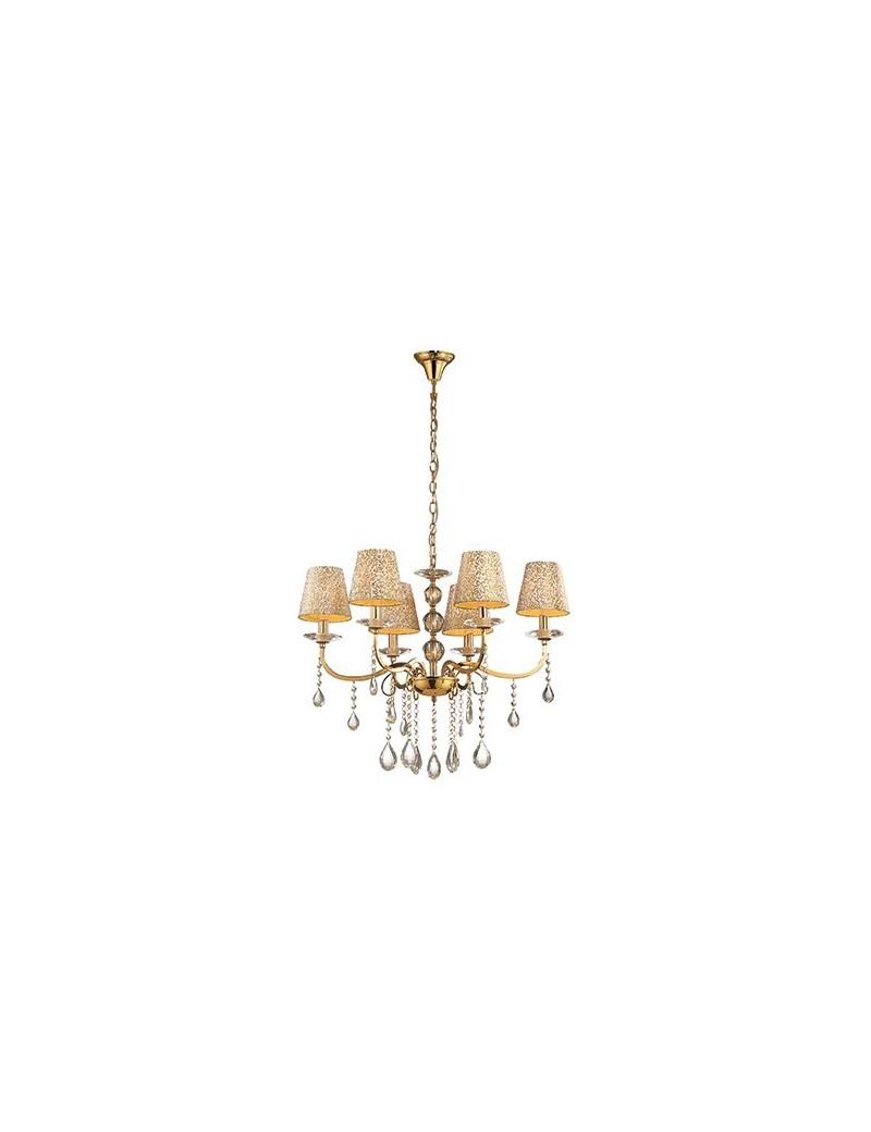 IDEAL LUX: Pantheon sp6 oro elegante lampadario ideal lux decorazione in rilievo e brillantini in