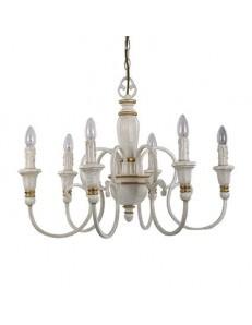IDEAL LUX PRONTA CONSEGNA: Palio sp6 lampadario effetto legno bianco antico 6 luci in offerta