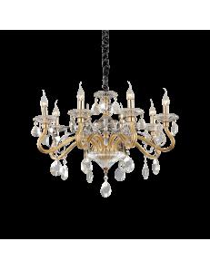 Negresco sp8 lampadario sospensione cristallo molato Bracci in vetro soffiato  dorato 8 luci