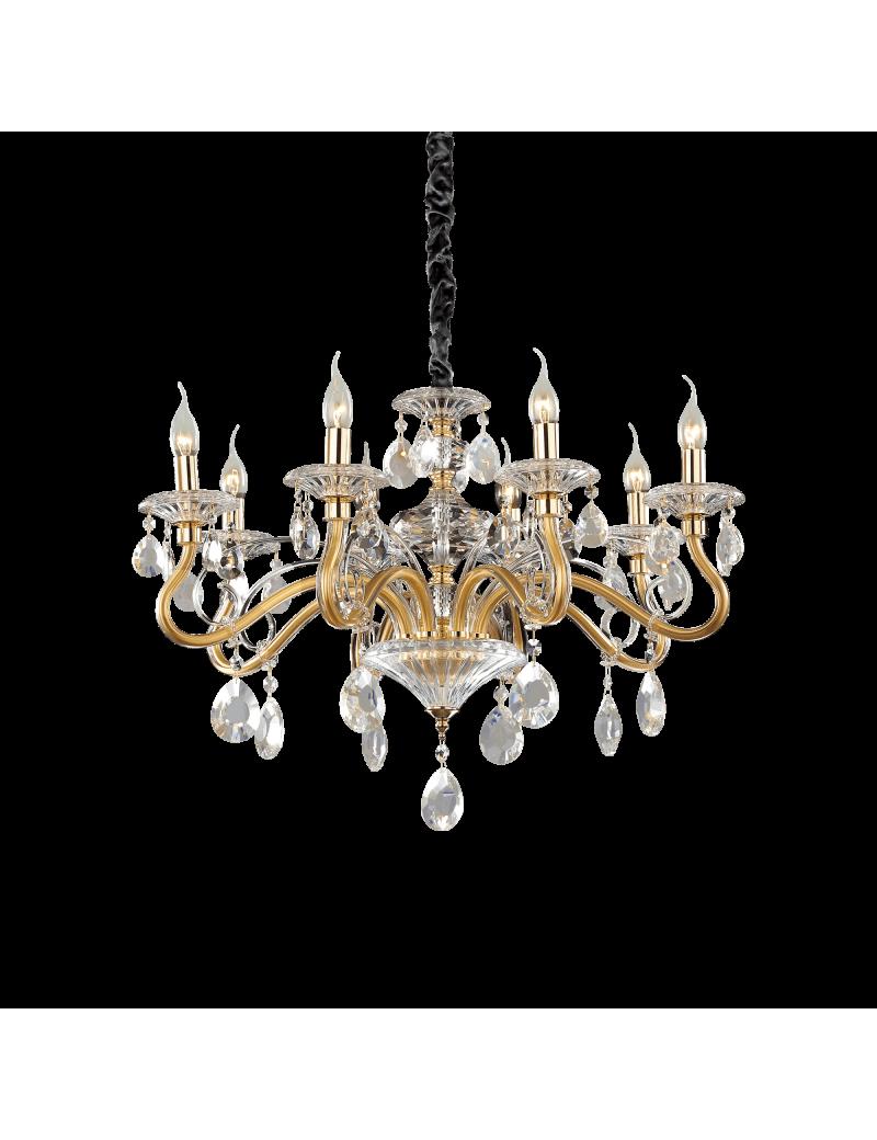 IDEAL LUX: Negresco sp8 lampadario sospensione cristallo molato bracci in vetro soffiato dorato 8