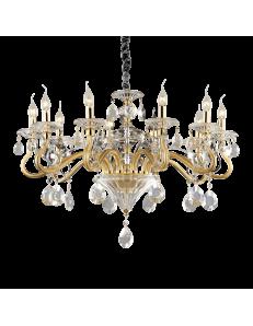 Negresco sp10 lampadario sospensione cristallo molato Bracci in vetro soffiato dorato 10 luci