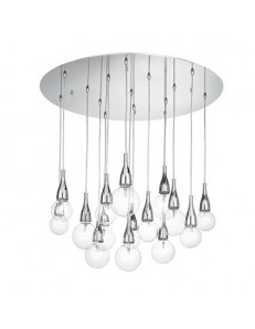 Minimal cromo sospensione alogena con lampade incluse 15 luci