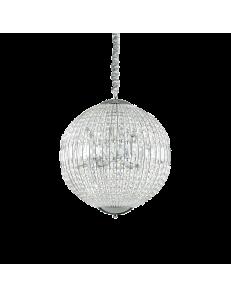 IDEAL LUX: Luxor sp8 lampadario sospensione cristallo ottagonali e rettangolari 8 luci cromo in
