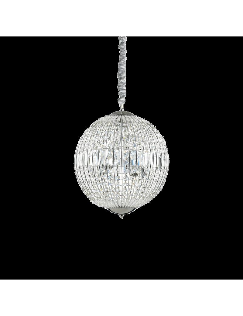 IDEAL LUX: Luxor sp6 lampadario sospensione cristallo ottagonali e rettangolari 6 luci cromo in