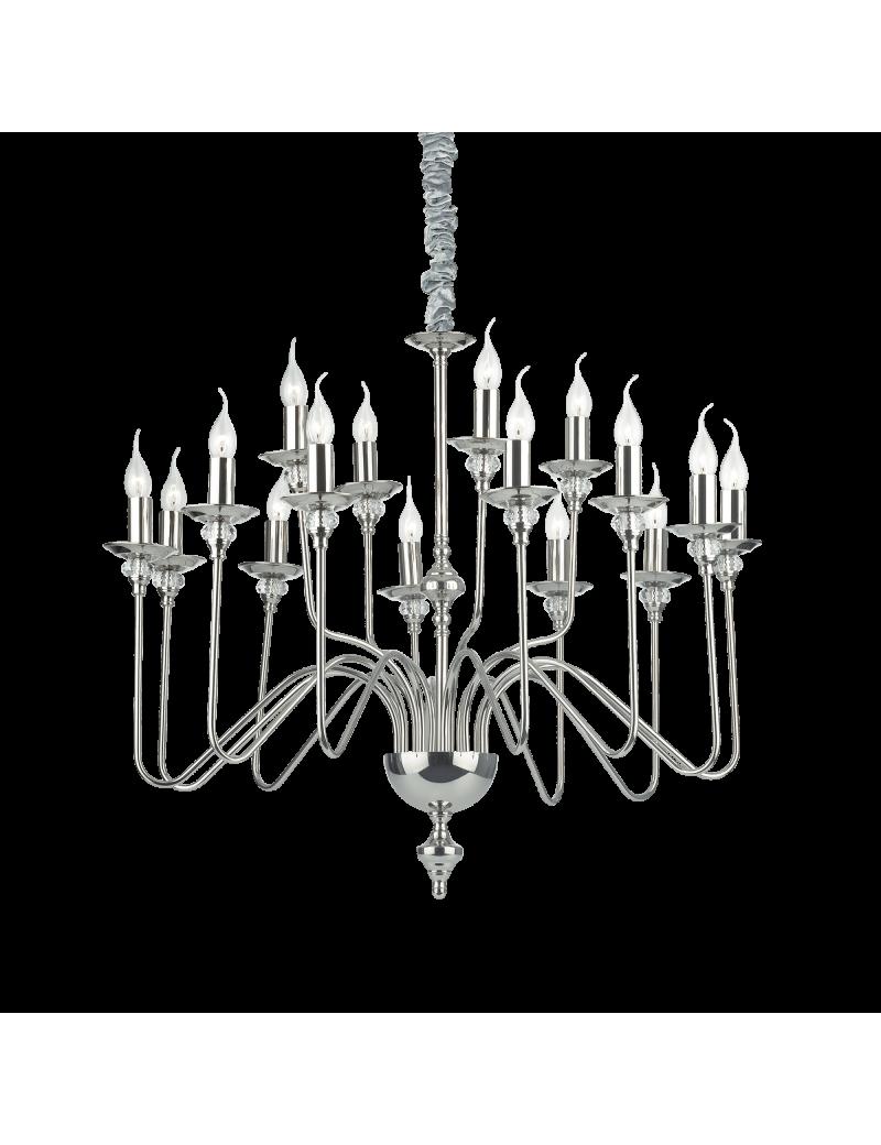 IDEAL LUX: Artu lampadario 16 bracci nickel lucido decorativi cristallo in offerta