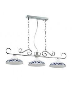 IDEAL LUX PRONTA CONSEGNA: Bassano sospensione metallo cromato diffusori ceramica bianco e blu in
