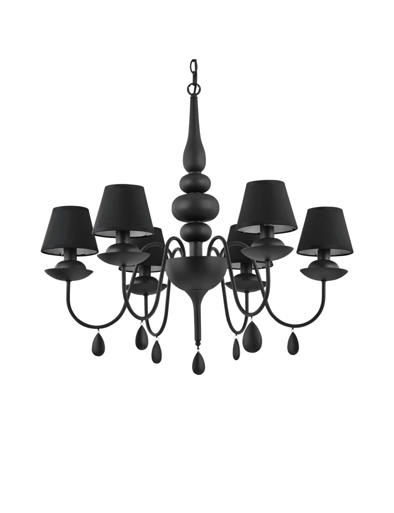 IDEAL LUX: Blanche sp6 nero lampadario paralumi pvc in offerta