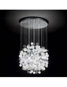 Bollicine lampadario sospensione con 14 luci bolle di vetro bianche
