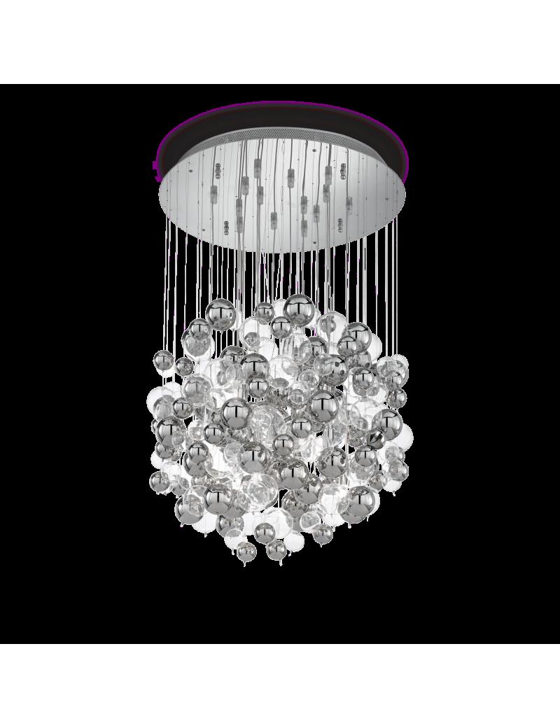 IDEAL LUX: Bollicine lampadario sospensione con 14 luci bolle di vetro trasparenti e cromo in