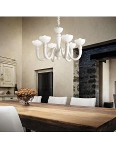 bon bon sp6 lampadario bracci in fusione e vetro bianco soffiato 6 luci