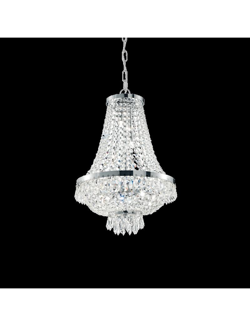 IDEAL LUX: Caesar sp6 cromo lampadario in cristallo molato con pendenti 6 luci in offerta