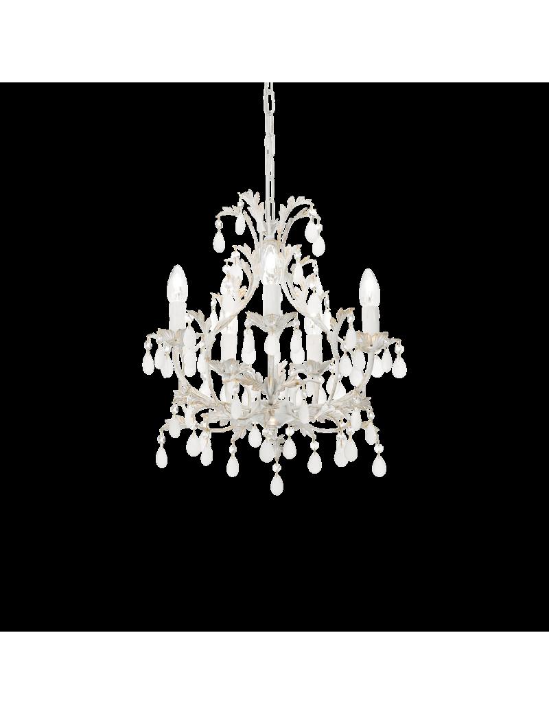 IDEAL LUX: Cascina lampadario artigianale 5 luci bianco oro pendenti vetro in offerta
