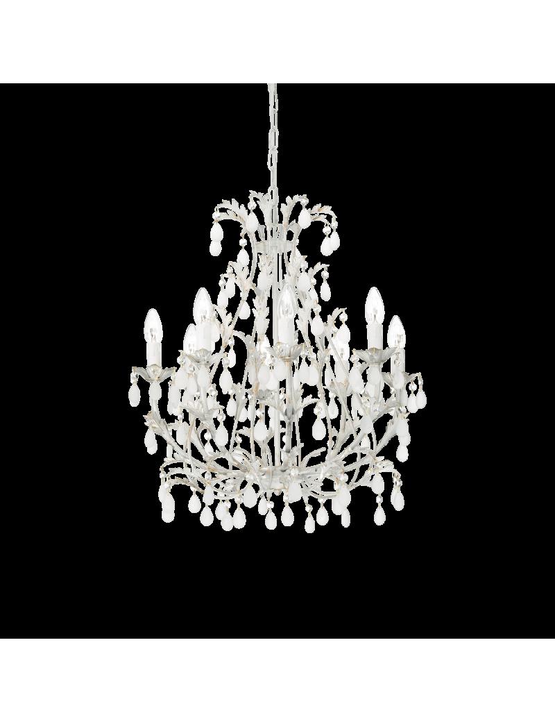 IDEAL LUX: Cascina lampadario artigianale 8 luci bianco oro pendenti vetro in offerta