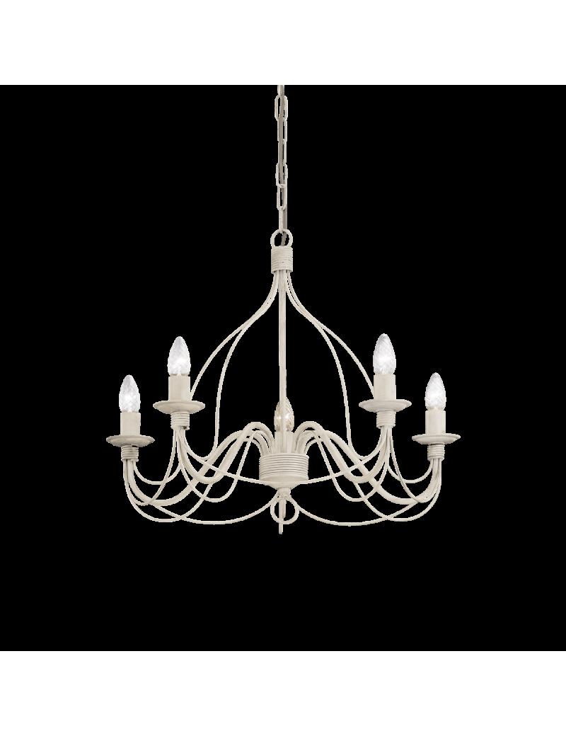 IDEAL LUX: Corte lampadario 5 luci metallo modellato finitura bianco antico in offerta