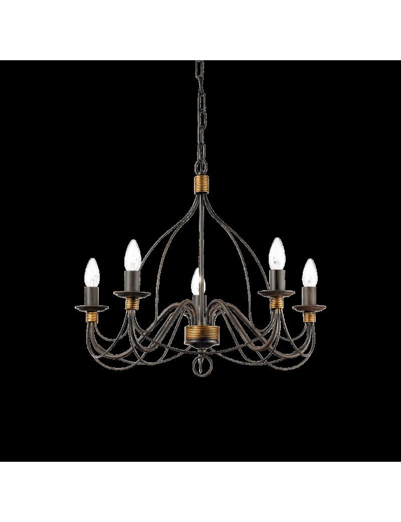 IDEAL LUX: Corte lampadario 5 luci metallo modellato finitura ruggine in offerta