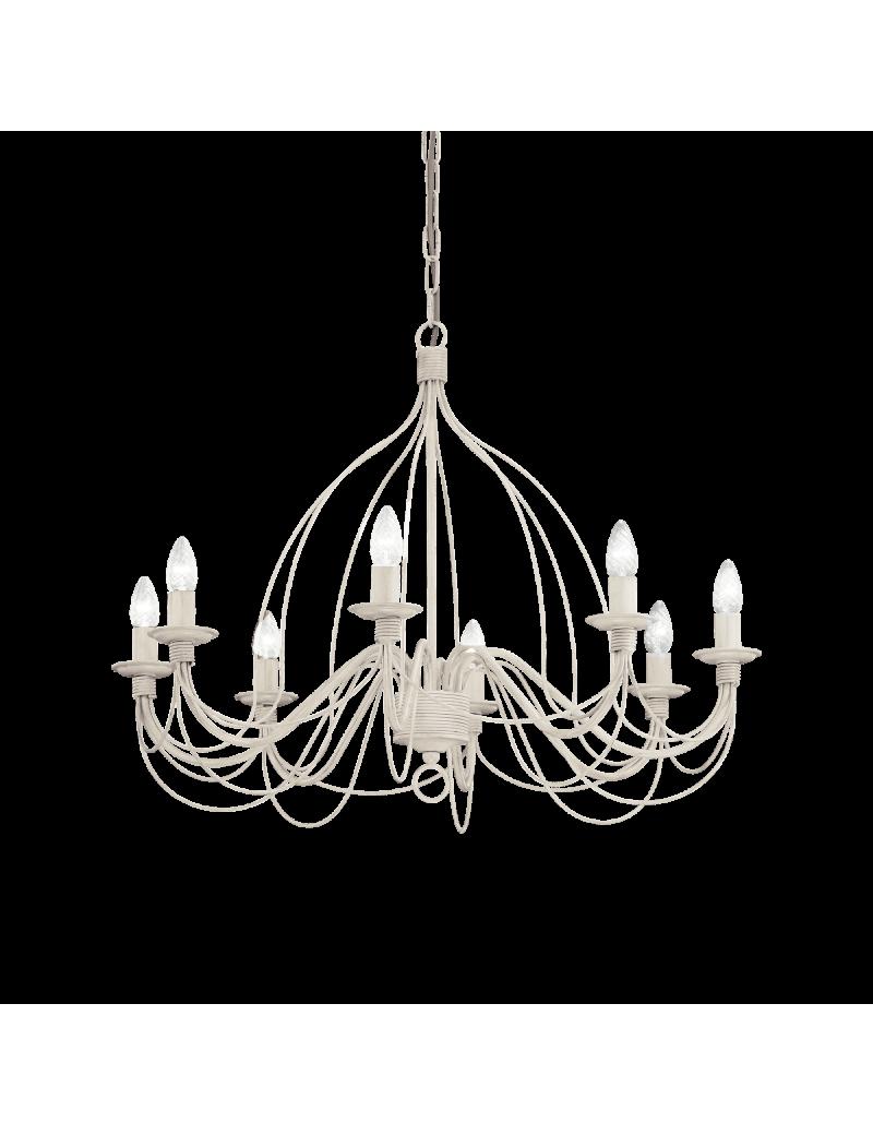 IDEAL LUX: Corte lampadario 8 luci metallo modellato finitura bianco antico in offerta