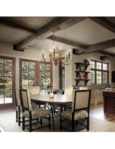 cortina lampadario metallo artigianale 10 luci antichizzato