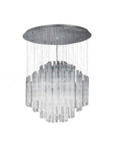 Elegant sospensione con canne in vetro  e sfere centrali in cristallo 8 luci