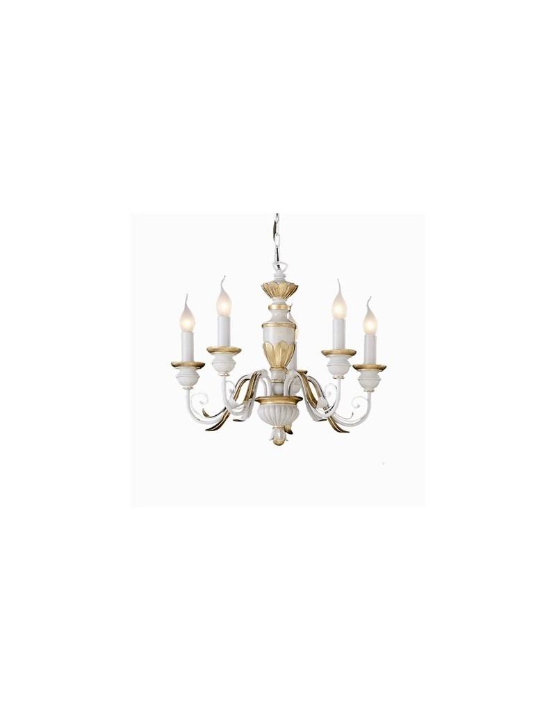 IDEAL LUX: Firenze lampadario 5 bracci antichizzato foglia oro in offerta