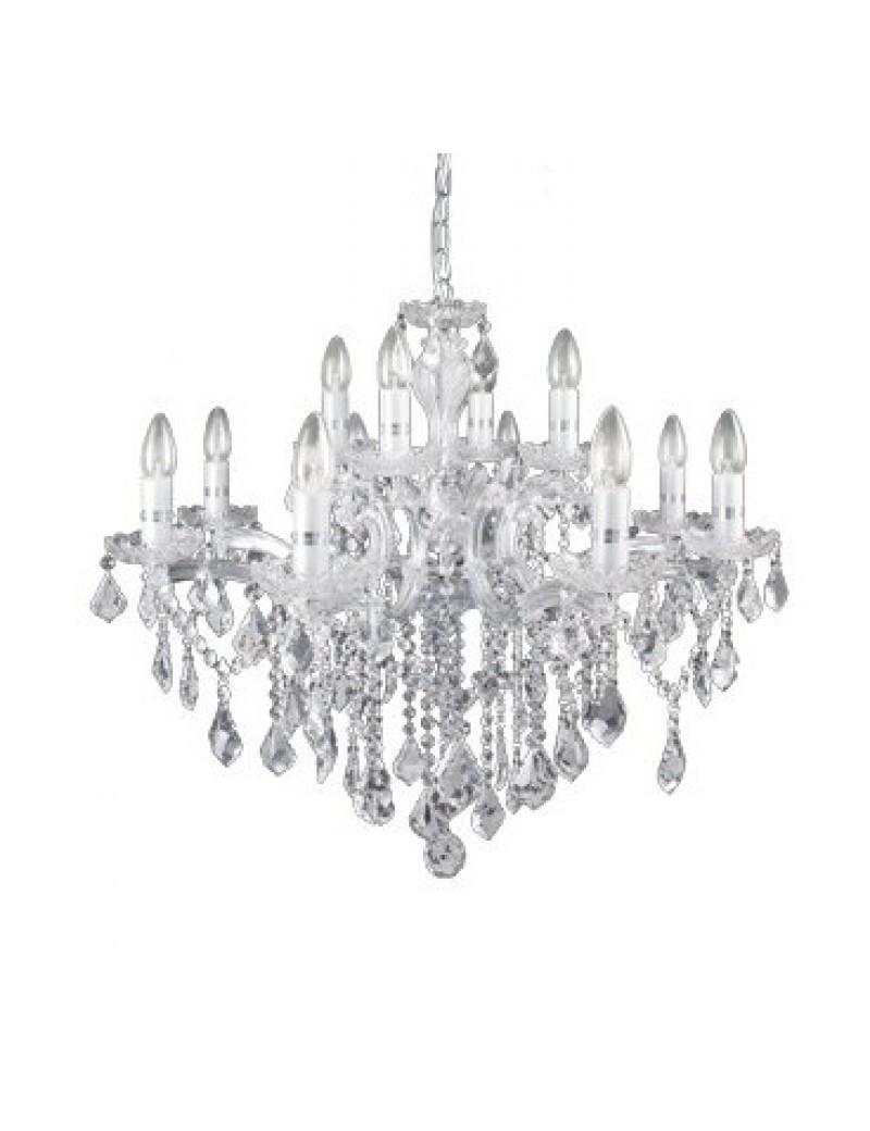 IDEAL LUX: Florian sp12 cromo lampadario sospensione cromato con gocce e pendenti in cristallo in