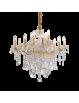 IDEAL LUX: Florian sp12 oro lampadario sospensione dorato con gocce e pendenti in cristallo in
