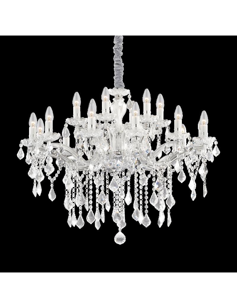 IDEAL LUX: Florian sp18 cromo lampadario sospensione cromato con gocce e pendenti in cristallo in