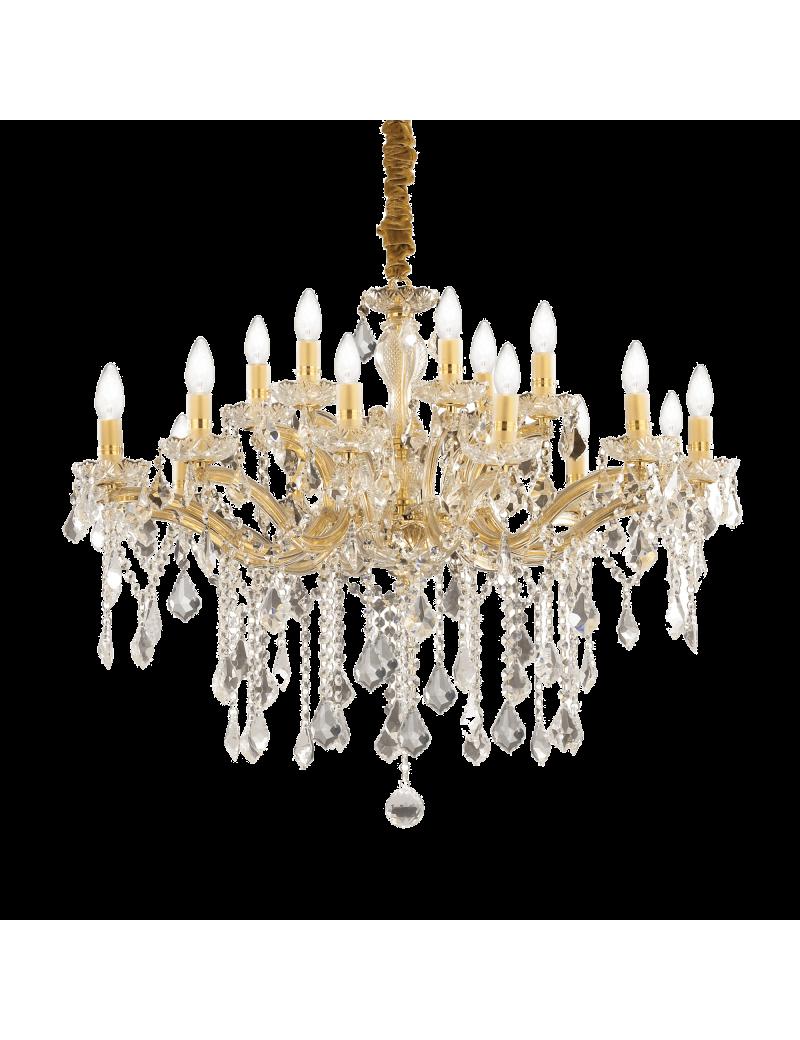 IDEAL LUX: Florian sp18 oro lampadario sospensione dorato con gocce e pendenti in cristallo in
