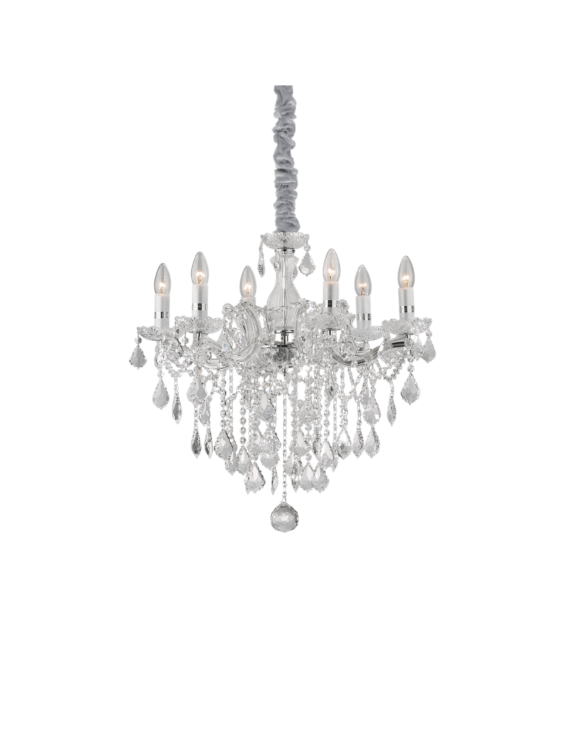 IDEAL LUX: Florian sp6 cromo lampadario sospensione cromato con gocce e pendenti in cristallo in