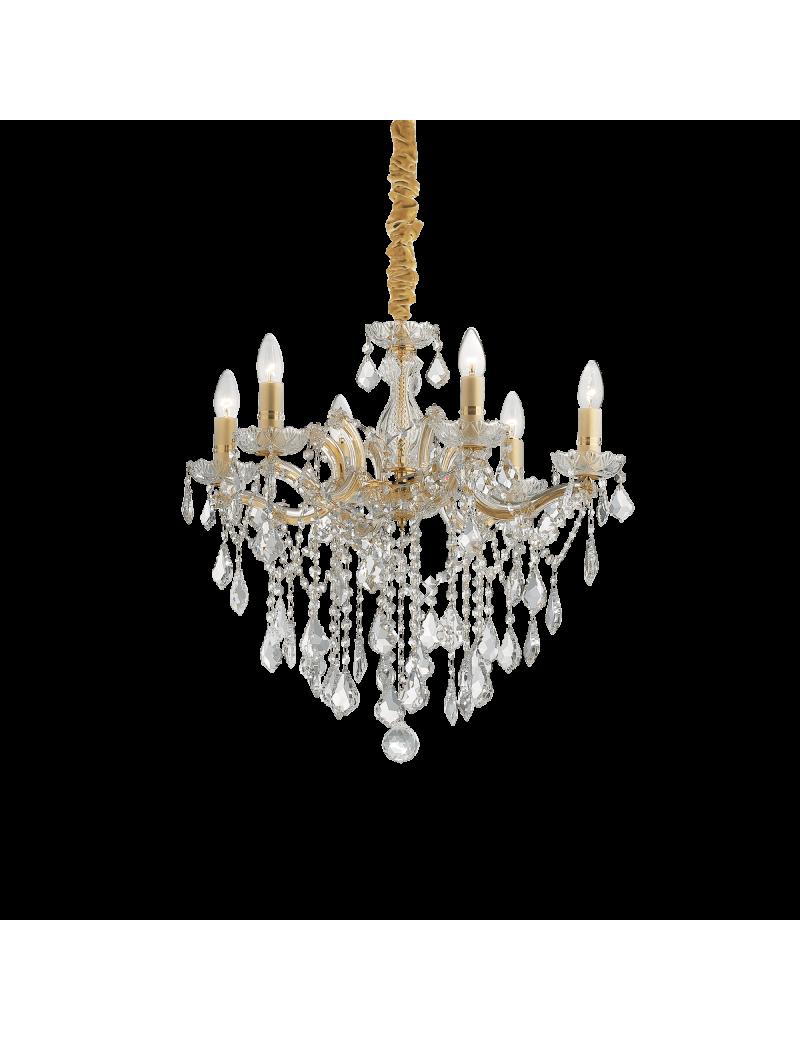 IDEAL LUX: Florian sp6 oro lampadario sospensione dorato con gocce e pendenti in cristallo in