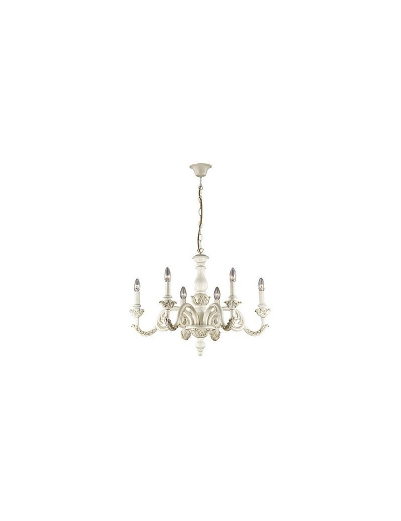 IDEAL LUX: Giglio lampadario classico effetto legno bianco argento oro 6 luci in offerta
