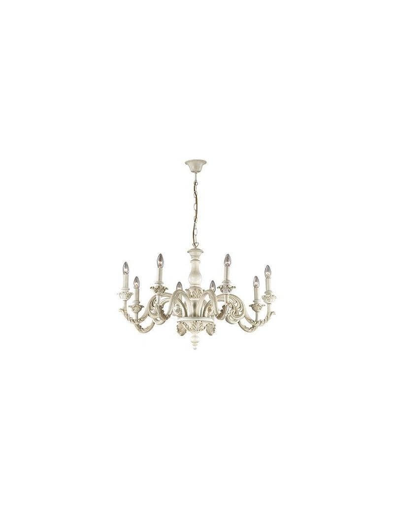 IDEAL LUX: Giglio sp8 lampadario classico effetto legno bianco argento oro in offerta