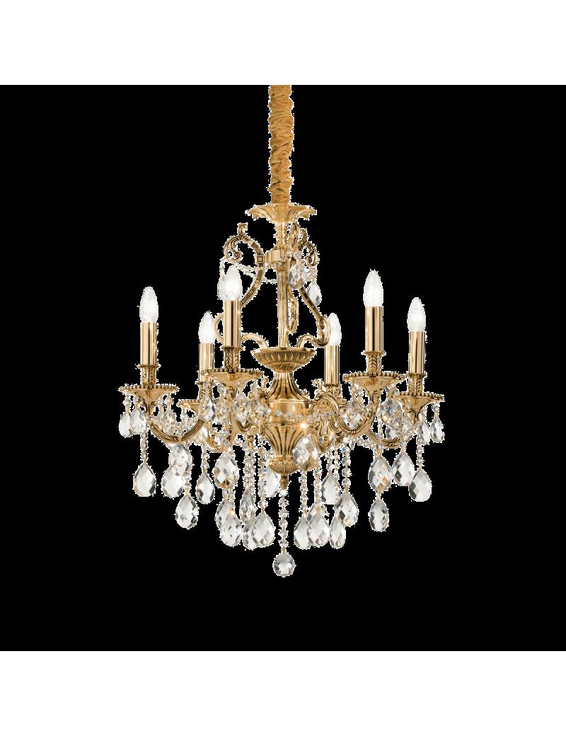 IDEAL LUX: Gioconda sp6 oro lampadario fusione metallo pendagli ed elementi in cristallo in offerta