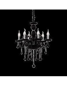 giudecca sp6 Lampadario in vetro nero pendagli cristallo molato 6 luci