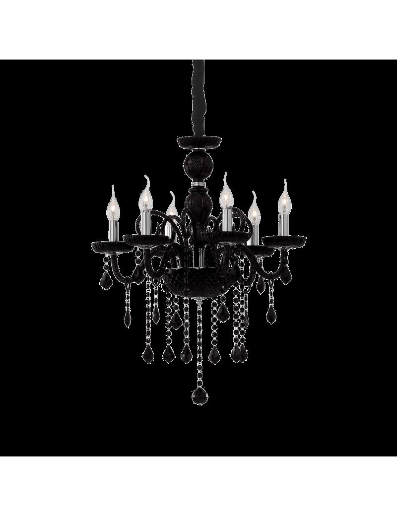 IDEAL LUX: Giudecca sp6 lampadario in vetro nero pendagli cristallo molato 6 luci in offerta