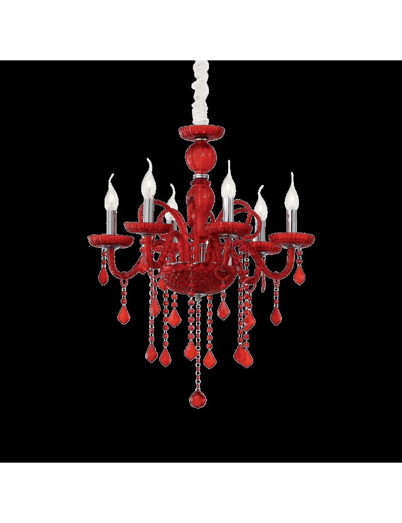 IDEAL LUX: Giudecca sp6 lampadario in vetro rosso pendagli cristallo molato 6 luci in offerta