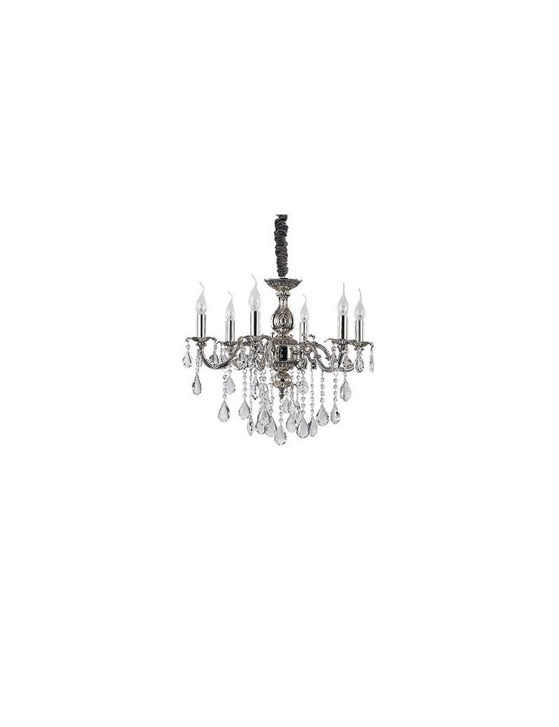 IDEAL LUX: Impero sp6 lampadario sospensione vetro rifinito argento pendenti gocce cristallo in