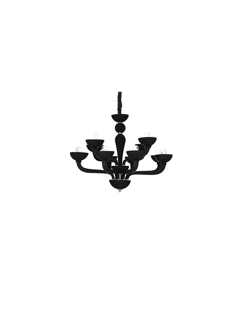 IDEAL LUX PRONTA CONSEGNA: Casanova sp12 nero lampadario sospensione vetro soffiato in offerta