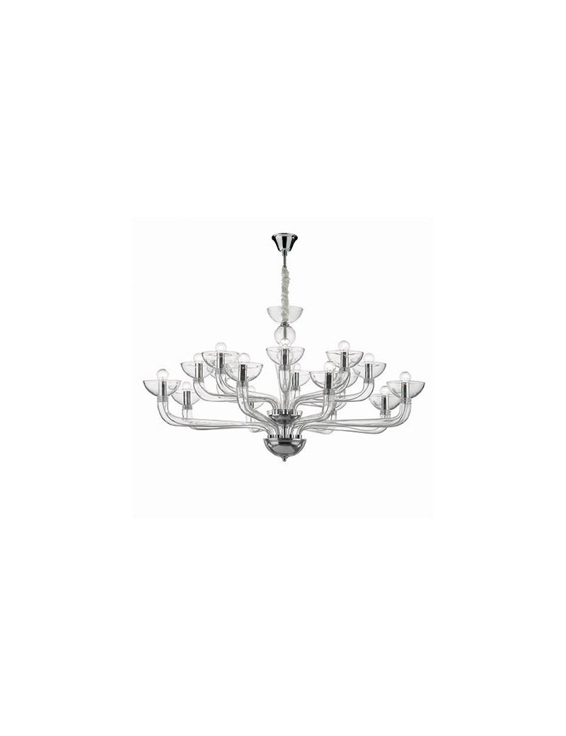 IDEAL LUX: Casanova sp16 lampadario sospensione vetro soffiato trasparente in offerta