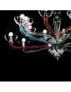 Lampadario sospensione vetro soffiato Casanova sp8 multicolor